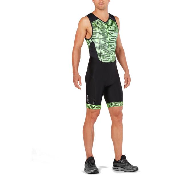 2XU Perform Front Zip Trisuit Herren black/geo neo green