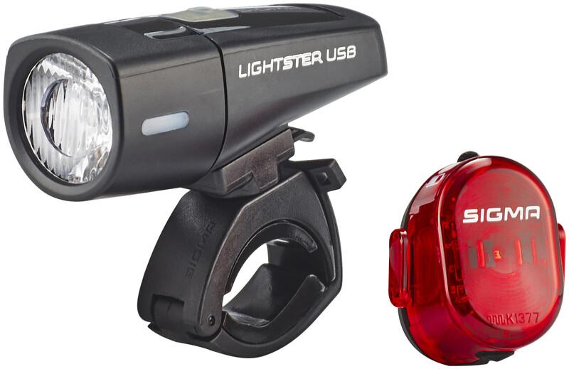 SIGMA SPORT Lighster USB / Nugget II Beleichtungsset Sykkellys Sett Svart  2018 Batteridrevne Lyssett