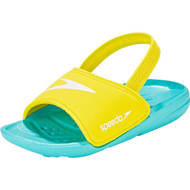 speedo Atami Sea Squad Slides Kinder bali blue/empire yellow