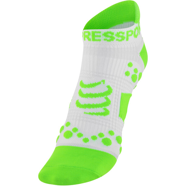 Compressport Racing V2 Run Low-Cut Socken white/green