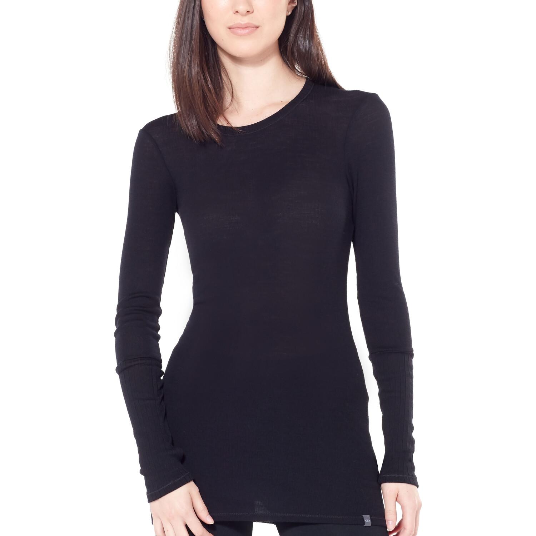 Icebreaker Luxe Rib Langarm Rundhalsshirt Damen black