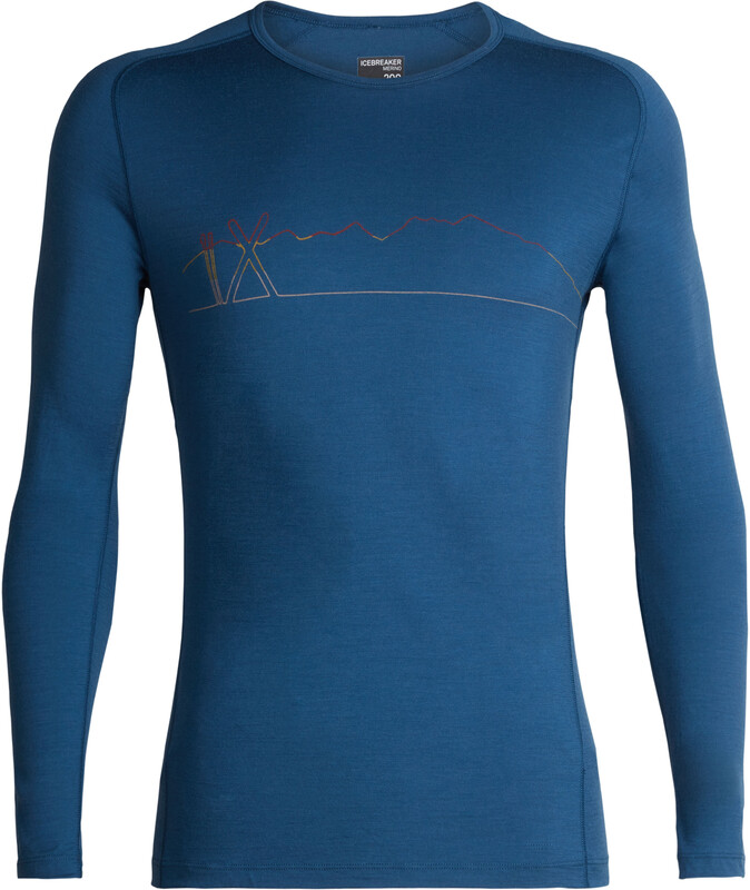 Icebreaker 200 Oasis Deluxe Single Line Ski Raglan LS Crew Shirt Men Prussian Blue XL 2018 Accessoires