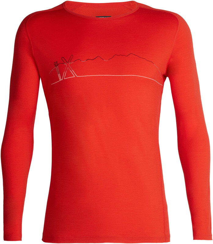 Icebreaker 200 Oasis Deluxe Single Line Ski Raglan LS Crew Shirt Men Chili Red XXL 2018 Accessoires