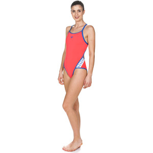 arena Team Stripe Super Fly Back One Piece Badeanzug Damen fluo red-royal fluo red-royal