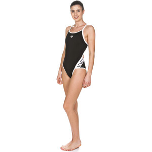 arena Team Stripe Super Fly Back One Piece Badeanzug Damen black-white black-white
