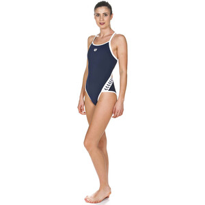arena Team Stripe Super Fly Back One Piece Badeanzug Damen navy-white navy-white