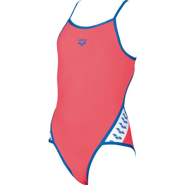 arena Team Stripe Super Fly Back One Piece Badeanzug Mädchen fluo red-royal