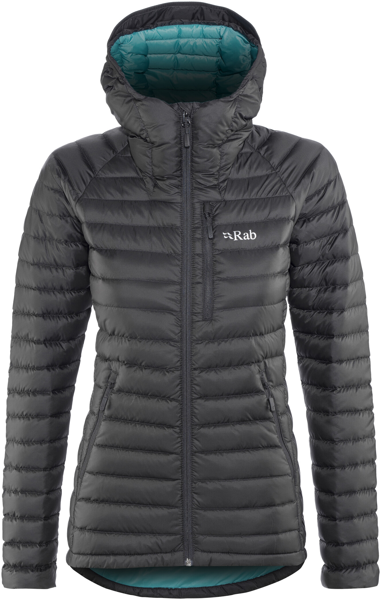 RAB Microlight Alpine Jacket Damen Black//Seaglass 2019 Funktionsjacke