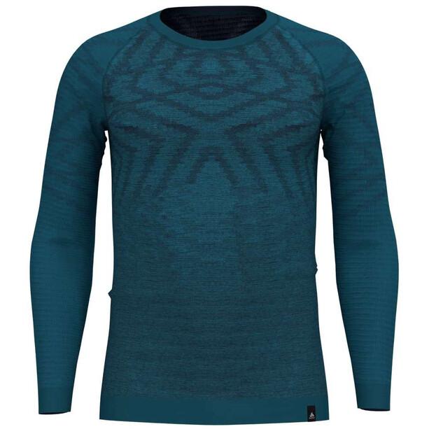 Odlo Suw Natural + Kinship Langarm Rundhalsshirt Herren blue coral melange