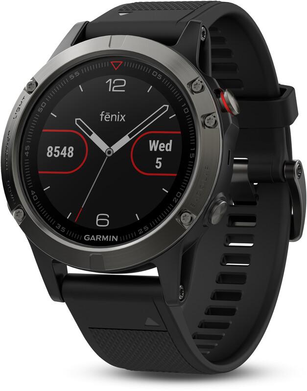 fenix 5 GPS Multisportuhr mit schwarzem Armband grau 2018 Laufuhren & Brustgurte