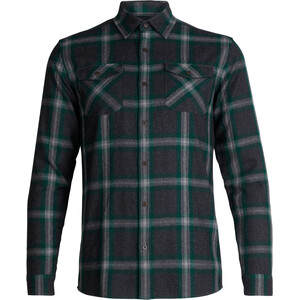Icebreaker Lodge LS Flannel Shirt Herr jet heather/dark pine/plaid jet heather/dark pine/plaid