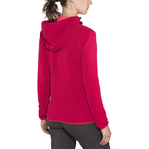 Meru Kalamata Fleece Hoodie Damen raspberry striped