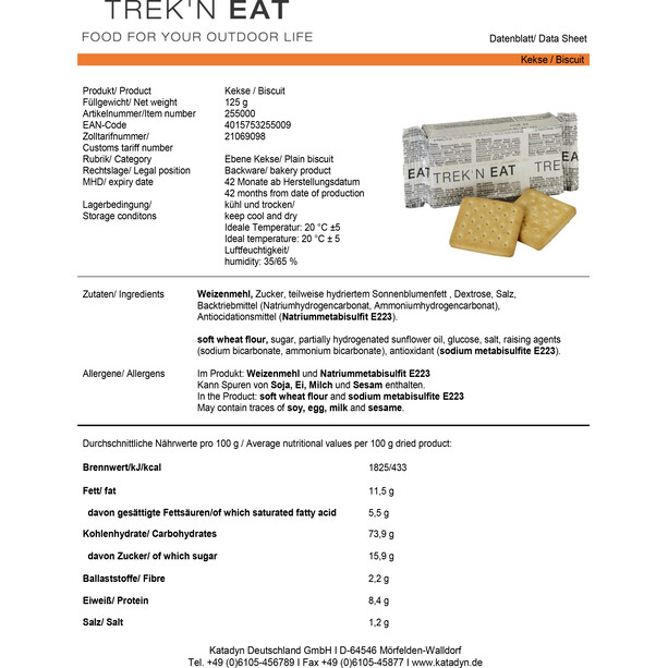 Trek'n Eat Tactical Day Ration Pack Outdoor Mahlzeit 1100g Typ 1