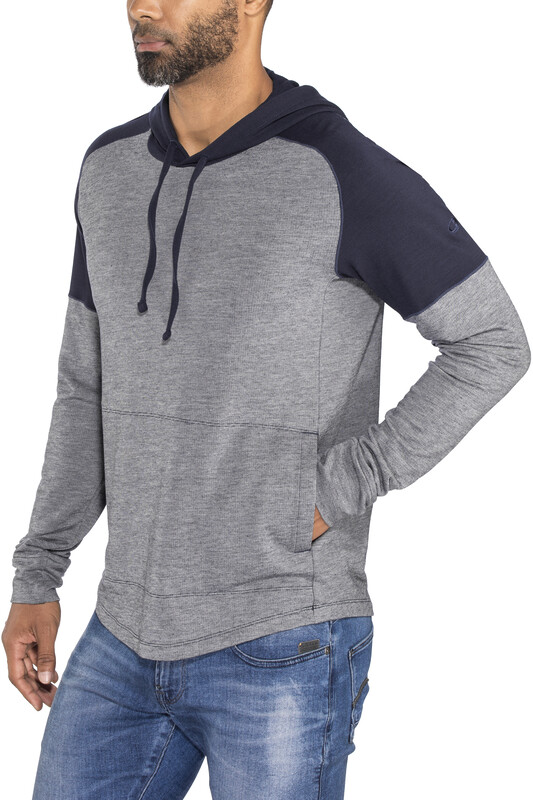 Icebreaker Momentum LS Hood Men Midnight Navy/Snow Hthr/Midnight Navy L 2018 Swe