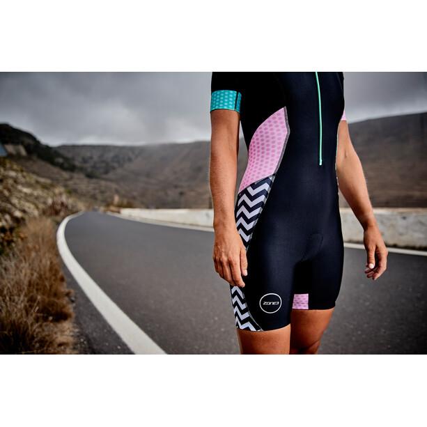 Zone3 Activate Plus Kurzarm Trisuit Damen zebra fly-black/green/pink/white