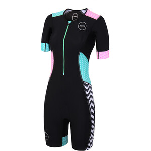 Zone3 Activate Plus Kurzarm Trisuit Damen zebra fly-black/green/pink/white zebra fly-black/green/pink/white