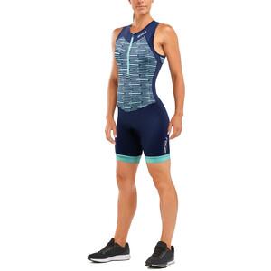 2XU Active Trisuit Damen navy/aqua splash print navy/aqua splash print