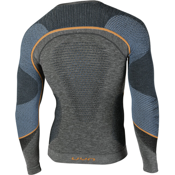 UYN Ambityon Melange UW LS Shirt Herr black melange/atlantic/orange shiny