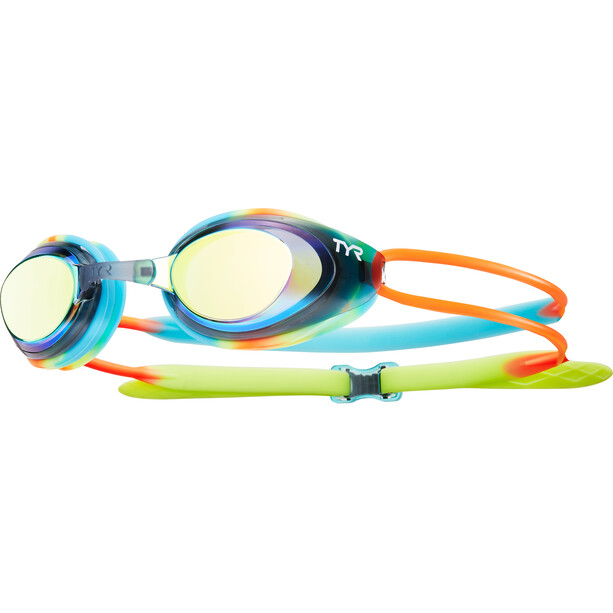 TYR Black Hawk Racing Goggles Mirrored Kinder blue/orange
