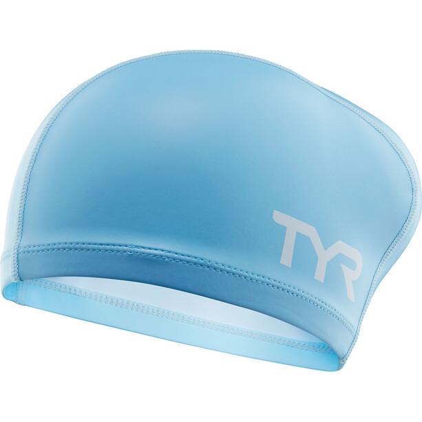 TYR Comfort Langhaar Silikon Badekappe Kinder light blue