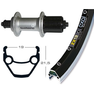 Exal Hinterrad schwarz/silber schwarz/silber