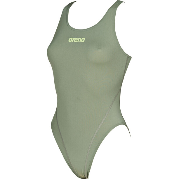 arena Solid Swim Tech High One Piece Badeanzug Damen army-shiny green