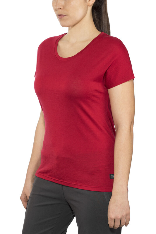 Bergans Oslo Wool Tee Women red Yoga Shirts M 7595-671-M