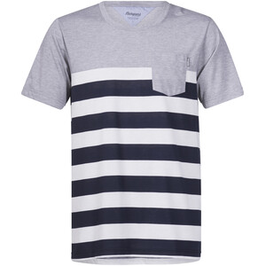 Bergans Lyngør T-Shirt Herren white/navy striped/grey melange white/navy striped/grey melange