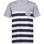 white/navy striped/grey melange