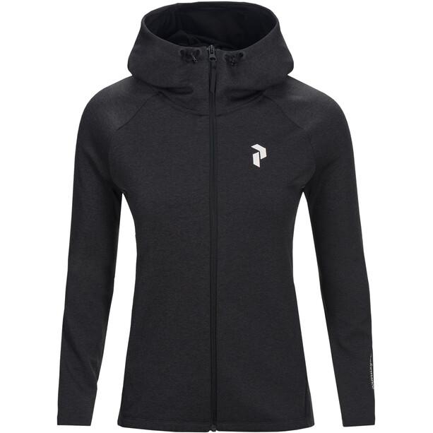 Peak Performance Pulse Zip Hood Damen dark grey melange
