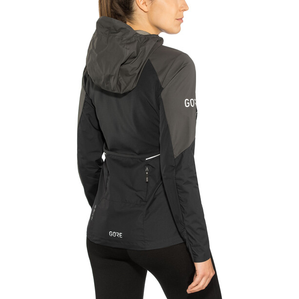 GORE WEAR R7 Partial Gore-Tex Infinium Kapuzenjacke Damen black/terra grey