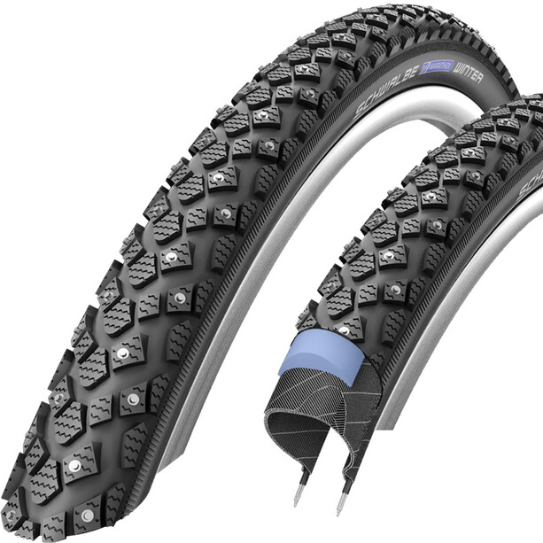 "SCHWALBE Marathon Winter Plus Wired-on Tire Reflex 24x1.75"" black"