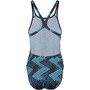 speedo MirrorGlare Allover Powerback Badeanzug Damen black/blue