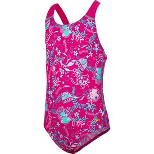 speedo Seasquad Allover Badeanzug Mädchen pink/pink splash/bali blue pink/pink splash/bali blue