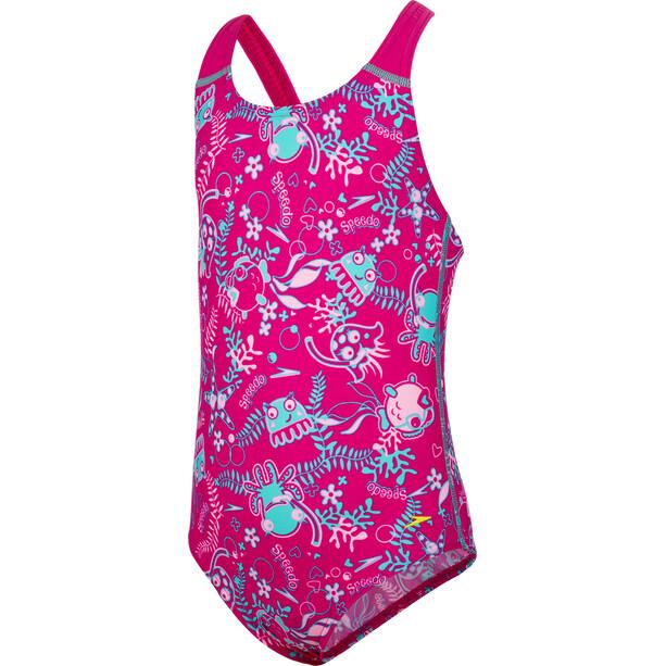 speedo Seasquad Allover Badeanzug Mädchen pink/pink splash/bali blue