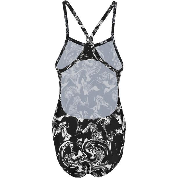 speedo MirrorFizz Allover Turnback Badeanzug Damen black/white