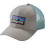 Patagonia P-6 Logo Trucker Cap drifter grey with dam blue