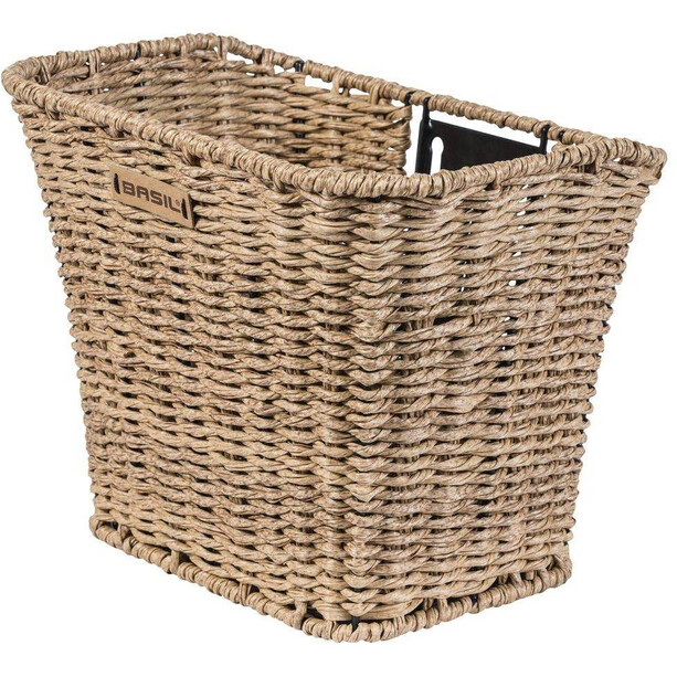 Basil Bremen Rattan Look Front Wheel Basket seagrass