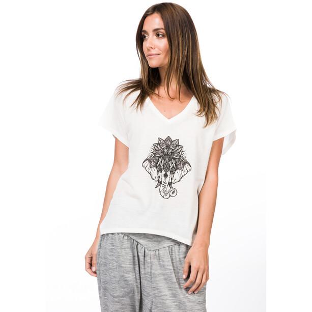 super.natural Jonser T-Shirt Damen fresh white/jet black elephant print