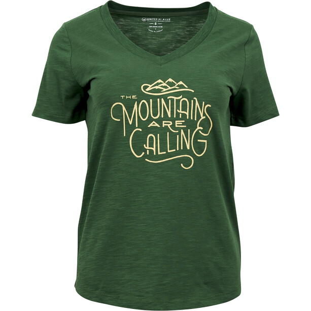 United By Blue Mountains Are Calling Kurzarm Graphic T-Shirt Damen pine green