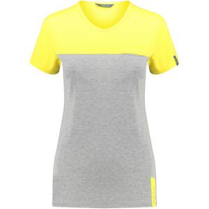 Meru Perama Maillot à manches courtes Femme, gris/jaune gris/jaune