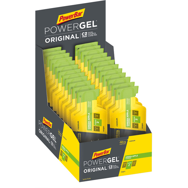 PowerBar PowerGel Original Box 24 x 41g Green Apple mit Koffein