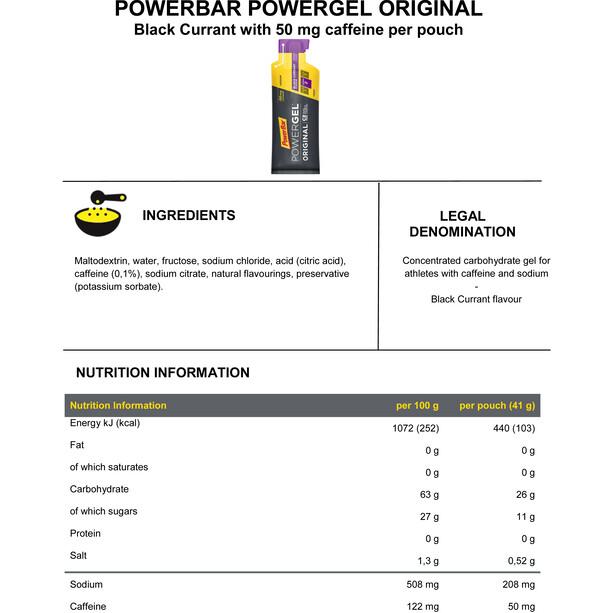 PowerBar PowerGel Original Box 24 x 41g Black Currant mit Koffein