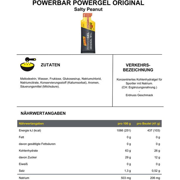 PowerBar PowerGel Original Box 24 x 41g Gesalzene Erdnüsse