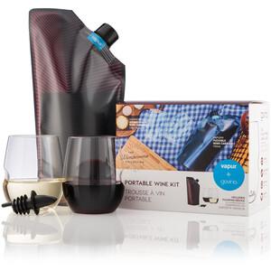 Vapur Vapur Wandervino Set Bottiglia con 2 bicchieri 750ml, rosso/nero rosso/nero