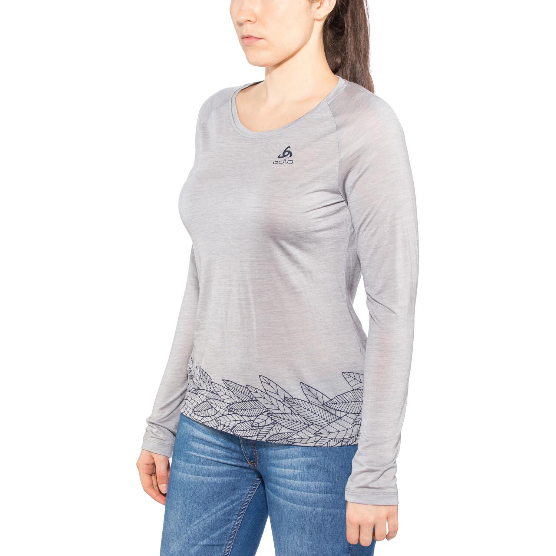 Odlo BL Concord Langarm Rundhalsshirt Damen grey melange-leaves on waist print ss19