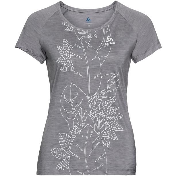 Odlo BL Concord Kurzarm Rundhalsoberteil Damen grey melange-flower leaf print ss19