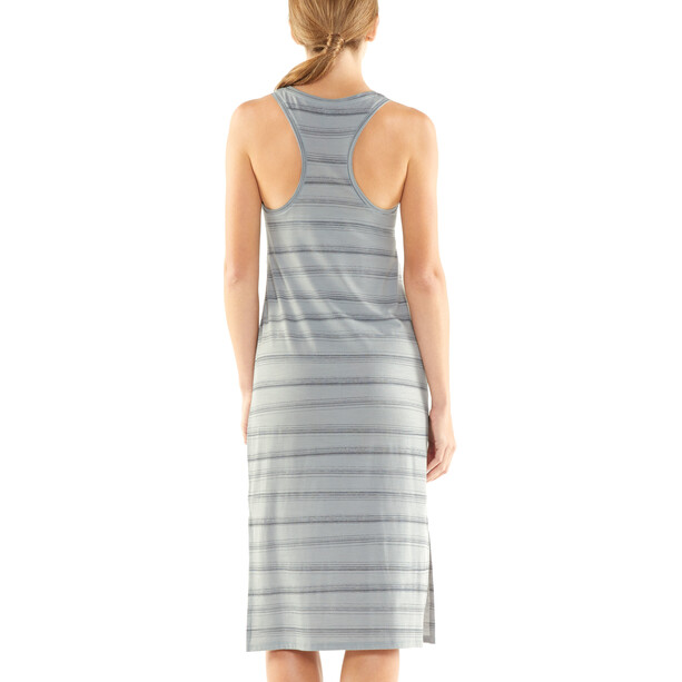 Icebreaker Yanni Tank Midi Dress Dam lunar heather/panther/scratch stripe