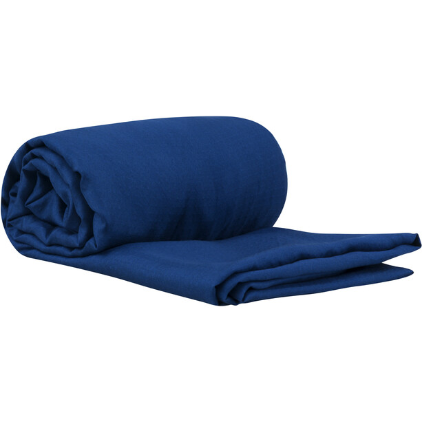 Sea to Summit Silk Stretch Liner Traveller mit Kopfkissen-Einschubfach blau