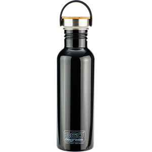 360° degrees Stainless Trinkflasche with Bamboo Cap 750ml black black